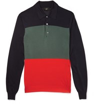 Dunhill Slim Fit Colour Block Knitted Mulberry Silk Polo Shirt Navy