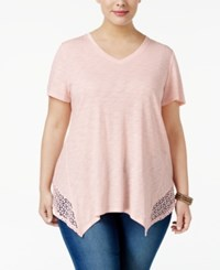 Style And Co Plus Size Crochet Trim Handkerchief Hem Top Only At Macy's Sea Lilly