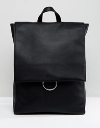 Asos Ring Flap Backpack Black