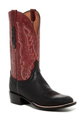 Lucchese Madras Goatskin Embroidered Leather Western Boot Black