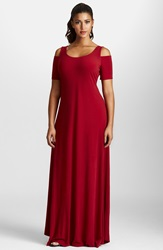 Mynt 1792 Cold Shoulder Maxi Dress Plus Size Tibetan Red