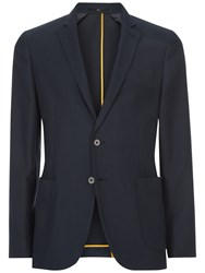 Jaeger Wool Cotton Slim Fit Blazer Navy