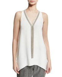 Brunello Cucinelli Sleeveless Silk Tunic With Monili Necklace White