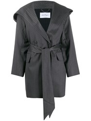 Salvatore Ferragamo Tie Waist Silk Coat Grey