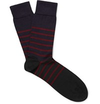 John Smedley Dionysus Striped Sea Island Cotton Blend Socks Black