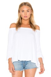 Enza Costa Stretch Crepe Jersey Off Shoulder Top White