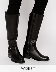 Asos C'mon Girl Wide Fit Leather Knee High Boots Black