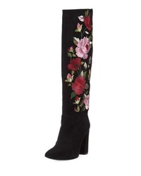 Kate Spade Greenfield Floral Embroidered Knee High Boot Black