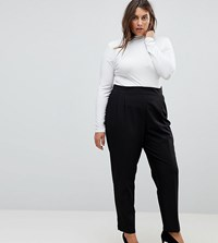 Asos Curve High Waist Tapered Trousers Black