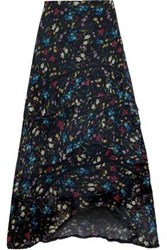Love Sam Blossom Tiered Floral Print Voile Midi Skirt Black