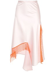 Christopher Esber Lattice Lace Dual Split Skirt Pink