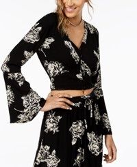 American Rag Juniors' Bell Sleeve Blouse Created For Macy's Black Combo