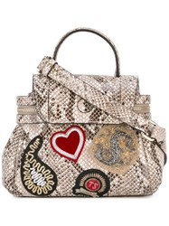 Twin Set Snakeskin Print Tote Bag Nude Neutrals