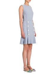 Dolce And Gabbana Cady Button Front Flounce Dress Pale Blue