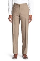 Canali Men's Big And Tall Flat Front Solid Stretch Cotton Trousers Tan