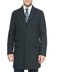 Ermenegildo Zegna Single Breasted Overcoat Charcoal Grey