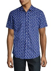 Report Collection Printed Cotton Button Down Shirt Cobalt
