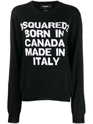 Dsquared2 Intarsia Logo Knitted Sweater Black