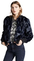Cupcakes And Cashmere Amy Faux Fur Bomber Jacket Ink