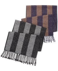 Club Room Twill Striped Scarf Tonal