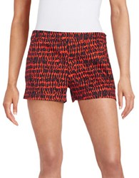 French Connection Printed Elastic Waist Shorts Masai Red