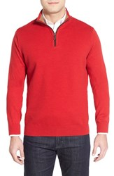 Men's Thomas Dean Regular Fit Quarter Zip Merino Wool Sweater Red