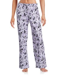 Lord And Taylor Pima Cotton Drawstring Floral Pants Purple