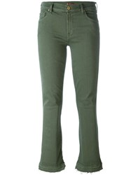 7 For All Mankind Flared Cropped Jeans Green