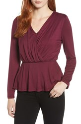 Bobeau Long Sleeve Faux Wrap Knit Top Burgundy Solid