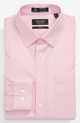 Nordstrom Smartcaretm Wrinkle Free Trim Fit Solid Pinpoint Dress Shirt Light Pink