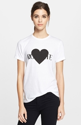 Rodarte 'Rohearte' Heart Graphic Tee White Black
