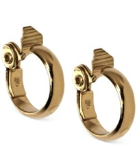 Anne Klein Gold Tone Wide Hoop Clip On Earrings