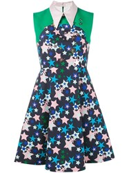 Delpozo Star Print Collared Dress Blue