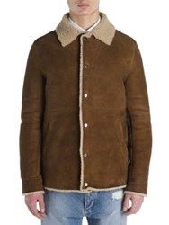Palm Angels Long Sleeve Shearling Jacket Light Brown