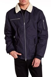 Wesc Collared Faux Shearling Zip Jacket Blue
