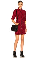 Coach 1941 Piped Shirt Dress In Animal Print Red Animal Print Red