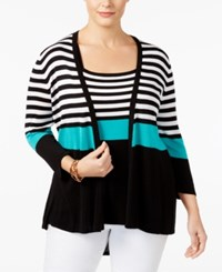Belldini Plus Size Striped Cardigan And Tank Top Matched Set Black White Green