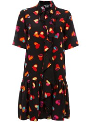 Boutique Moschino Heart Print Shirt Dress Black