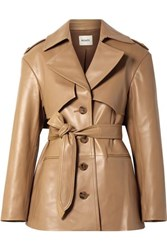 Khaite Billy Leather Coat Light Brown