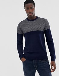 Ted Baker Contrast Knitted Jumper Navy