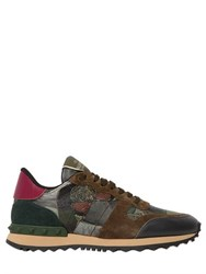 Valentino Rockstud Butterfly Leather Sneakers