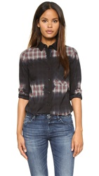 Monrow Button Down Plaid Shirt Ballet Grey