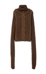 Tuinch Handmade Cable Knit Yak Turtleneck Brown