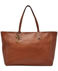 Fossil Emma Leather Work Tote Brown
