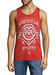 American Fighter Roundneck Sleeveless Tank Top Dirty Red