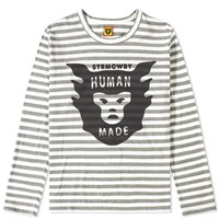 Human Made Long Sleeve Border Over Print Tee Grey