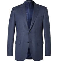 Canali Blue Slim Fit Slub Wool Travel Blazer Navy