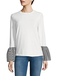Beach Lunch Lounge Striped Bell Sleeve Cotton Top White