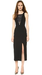 Dion Lee Lattice Lace Plunge Dress Black