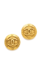 Wgaca Vintage Chanel Paris Round Earrings